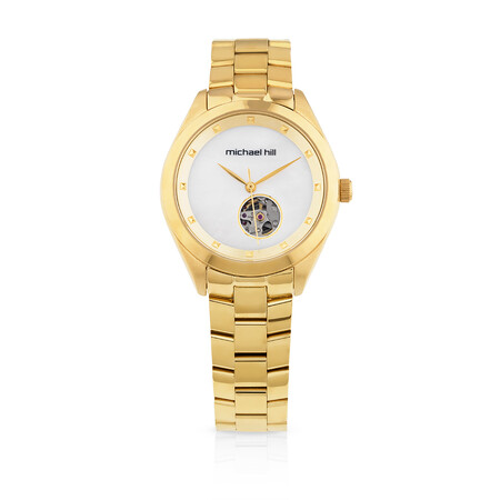 Ladies Yellow Tone Stainless Steel Automatic Watch