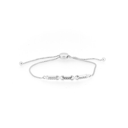 Adjustable Bracelet with 0.20 Carat TW of Diamonds in Sterling Silver & 10ct Yellow Gold
