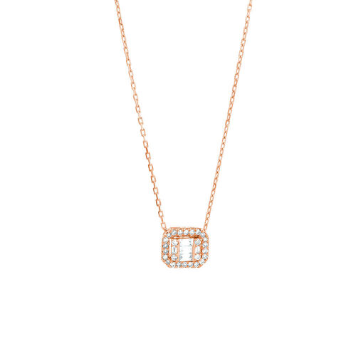 Rectangular Diamond Pendant with 0.15 Carat TW of Diamonds in 10ct Rose Gold