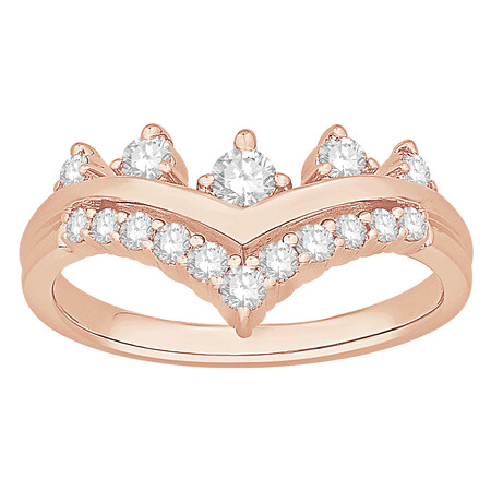 Chevron Ring with 0.50 Carat TW of Diamonds in 10ct Rose Gold