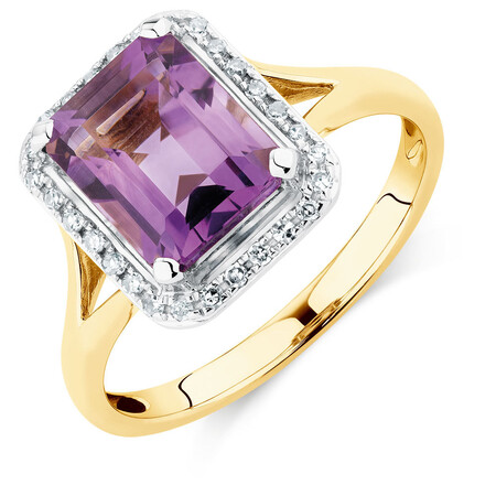 Ring with Amethyst & Diamonds in 10ct Yellow & White Gold