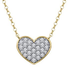 Heart Necklace in 0.25 Carat TW of Diamonds in 10ct Yellow Gold