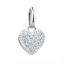 Cubic Zirconia & Sterling Silver Heart Coin Locket Accessory