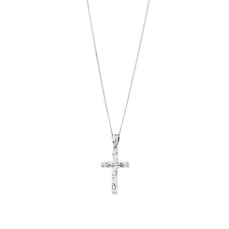 Cross Pendant in 10ct White Gold