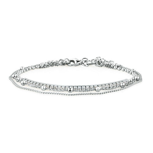 Layered Bracelet With Cubic Zirconia In Sterling Silver