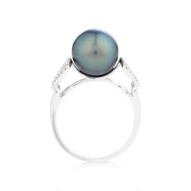 Ring With 0.12 Carat TW Diamonds & Tahitian Pearl In 14ct White Gold