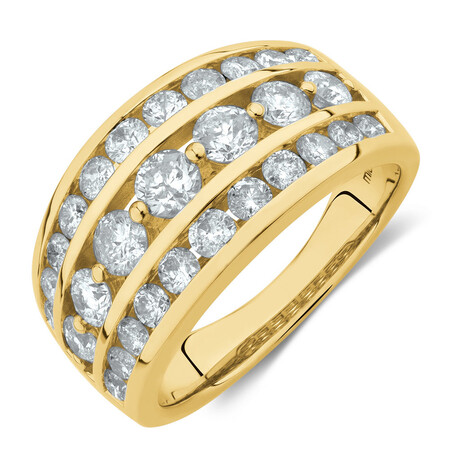 Three Row Ring with 2 Carat TW of Diamonds in 10ct Yellow Gold