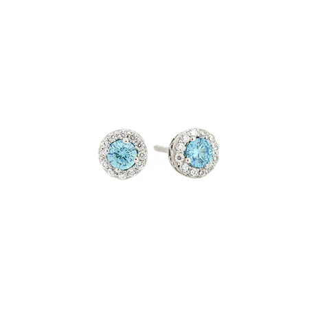 Halo Stud Earrings with Blue and White Cubic Zirconia in Sterling Silver