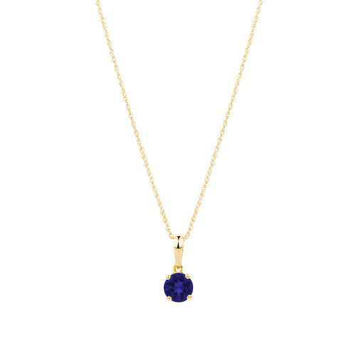 Pendant with Created Blue Sapphire in 10ct Yellow Gold