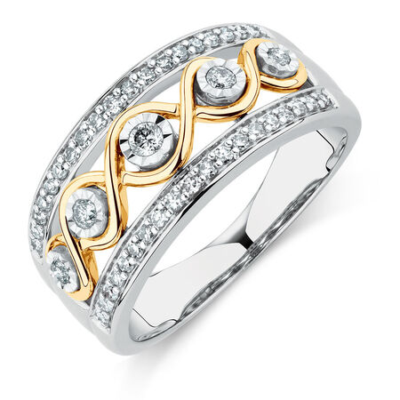 Ring with 1/3 Carat TW of Diamonds in Sterling Silver & 10ct Yellow Gold