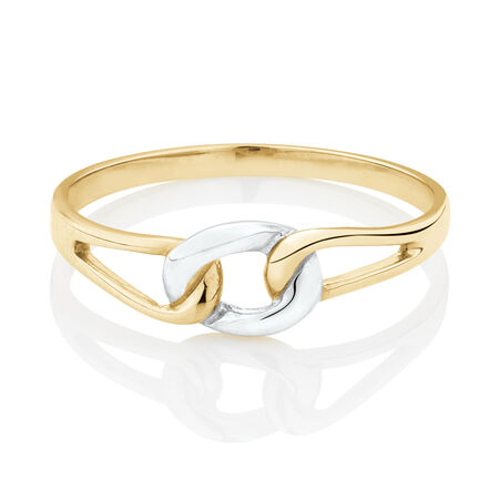 Link Ring in 10ct Yellow & White Gold