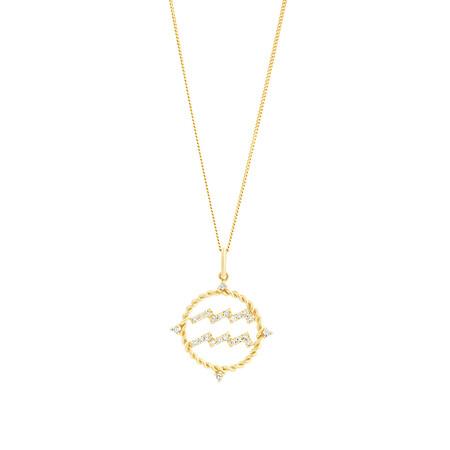 Aquarius Zodiac Pendant with 0.15 Carat TW of Diamonds in 10ct Yellow Gold
