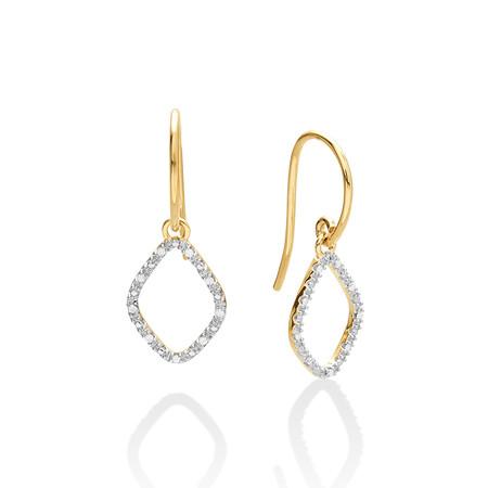 Organic Shape Earrings with Diamond in 10ct Yellow Gold