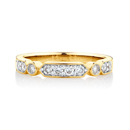 Ring with 0.34 Carat TW of Diamonds in 10ct Yellow Gold