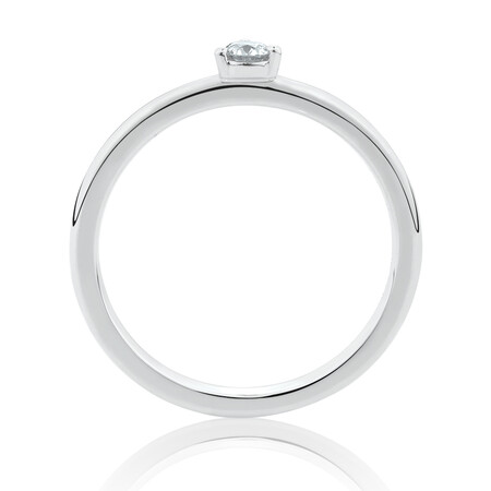 Stacker Ring with Diamonds in Sterling Silver