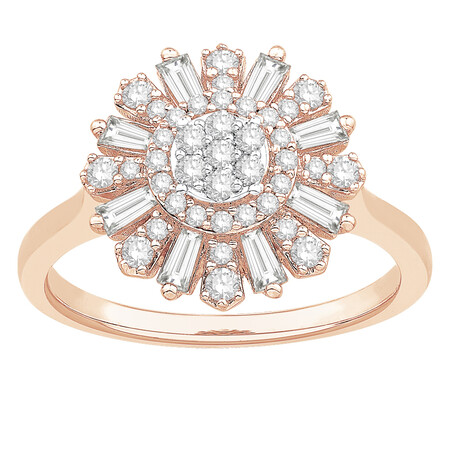 Ring with 0.63 Carat TW of Diamonds in 10ct Rose Gold