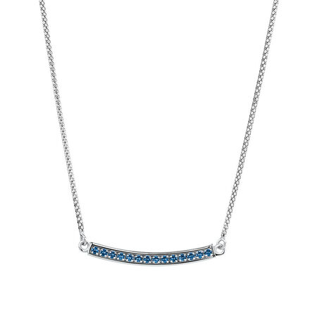Adjustable Bar Necklace with Blue Cubic Zirconia in Sterling Silver