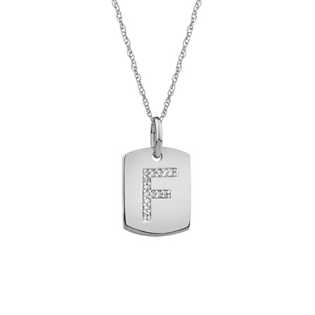 """F"" Initial Rectangular Pendant With Diamonds In 10ct White Gold"