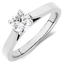 Solitaire Engagement Ring with 0.70 Carat TW of Diamonds in 14ct White Gold
