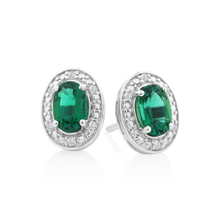 Halo Earrings with Created Emerald & Diamonds in Sterling Silver