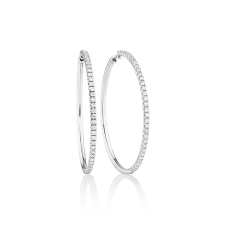 Pave Hoop Earrings with 1.00 Carat TW Diamonds in 10ct White Gold