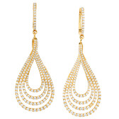 Drop Earrings with 2 Carat TW of Diamonds in 14ct Yellow Gold