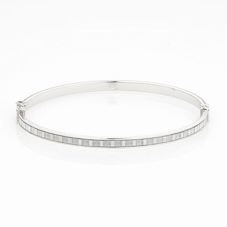 Online Exclusive - Glitter Bangle in Sterling Silver