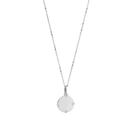 Compass Pendant with Diamonds in Sterling Silver