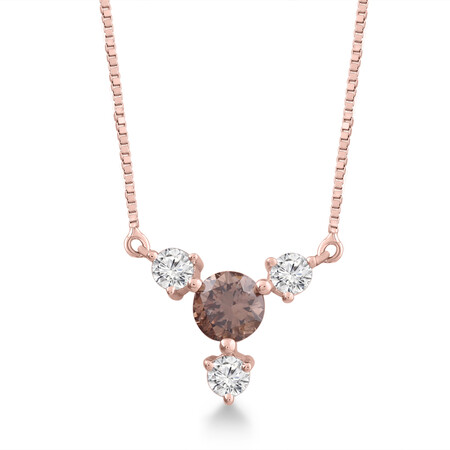 Necklace with 0.33 Carat TW of White & Brown Diamonds in 10ct White Gold