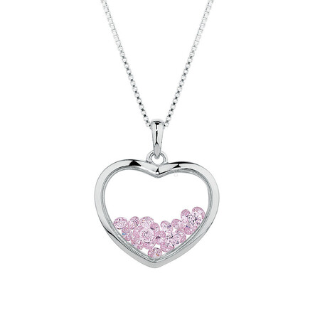 Online Exclusive - Heart Pendant with Pink Cubic Zirconias in Sterling Silver