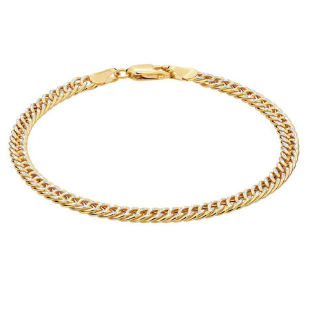 "19cm (7.5"") Curb Bracelet in 10ct Yellow & White Gold"