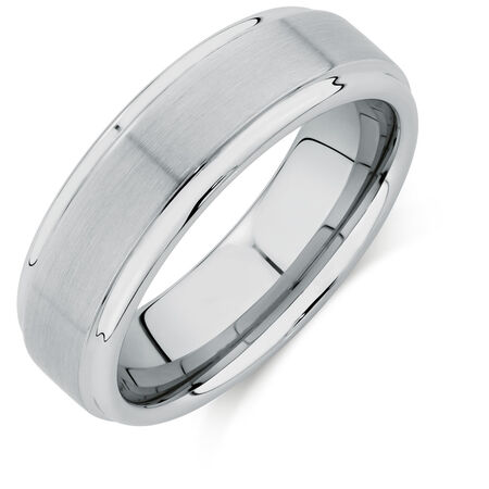 7mm Men's Ring in White Tungsten