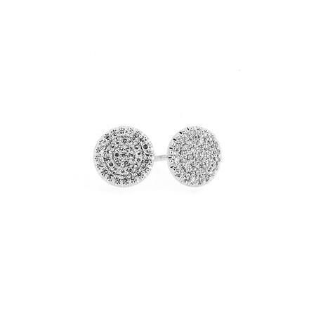 Circle Earrings with 0.25 Carat TW of Diamonds in 10ct White Gold
