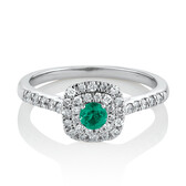 Square Halo Ring with 0.30 Carat TW of Diamonds & Emerald in 10ct White Gold