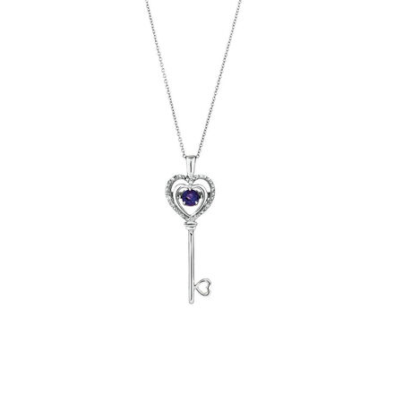 Online Exclusive - Everlight Key Pendant with Amethyst & Diamonds in Sterling Silver
