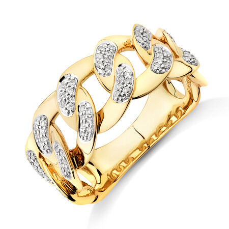 Link Ring with 0.33 Carat TW of Diamonds in 10ct Yellow Gold