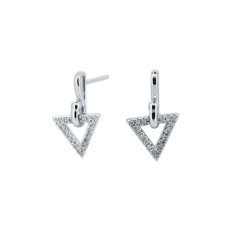 Triangle Drop Earrings with Diamonds in Sterling Silver