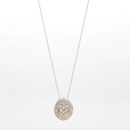 Online Exclusive - Cluster Pendant with 0.60 Carat TW of Diamonds in 14ct White & Rose Gold