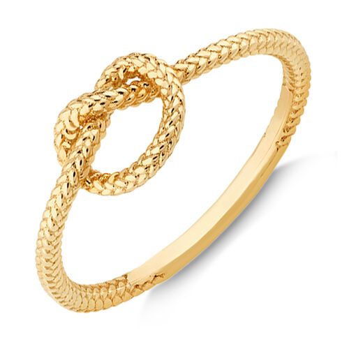 Overhand Rope Knot Ring in 10ct Yellow Gold