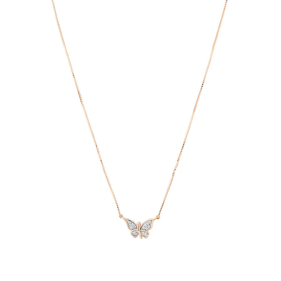 Butterfly Necklace with Diamonds in 10ct Rose Gold