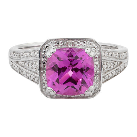 Online Exclusive - Ring with Diamonds & Created Pink Sapphire in Sterling Silver