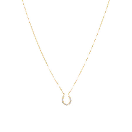 Horseshoe Necklace with 0.10 Carat TW of Diamonds in 10ct Yellow Gold