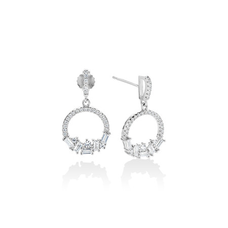 Floating Circle Earrings with White Cubic Zirconia in Sterling Silver