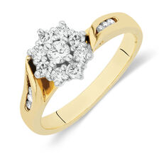 Online Exclusive - Flower Cluster Ring with 1/2 Carat TW of Diamonds in 18ct Yellow and White Gold
