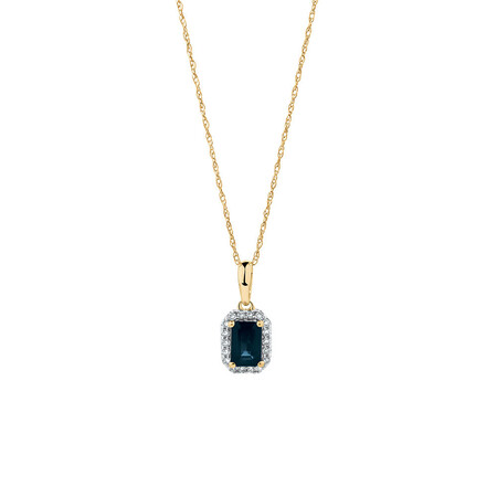 Pendant with Sapphire & Diamonds in 10ct Yellow Gold