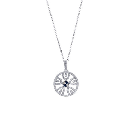 Fancy Circle Pendant with Cubic Zirconia in Sterling Silver