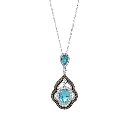 Pendant with Brown Diamonds & Blue Topaz in 14ct White Gold
