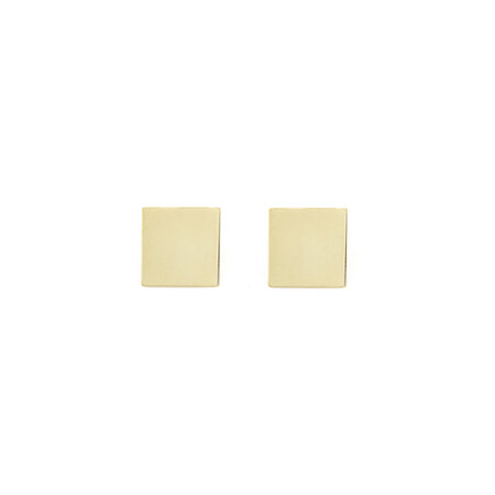 Square Disc Stud Earrings in 10ct Yellow Gold