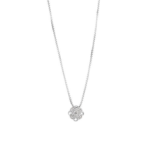 Cluster Pendant with Diamonds in Sterling Silver