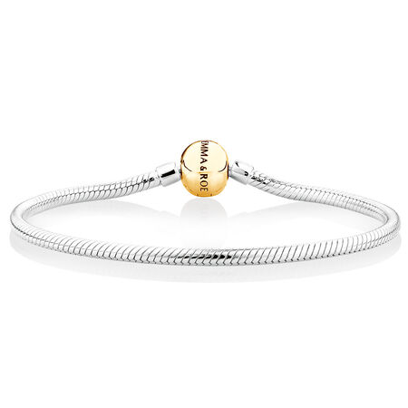 """21cm (8.5"""") Charm Bracelet in 10ct Yellow Gold & Sterling Silver"""